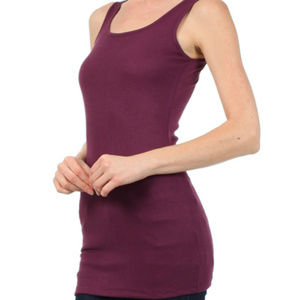 Mystree Ribbed Layering Tank in Plum